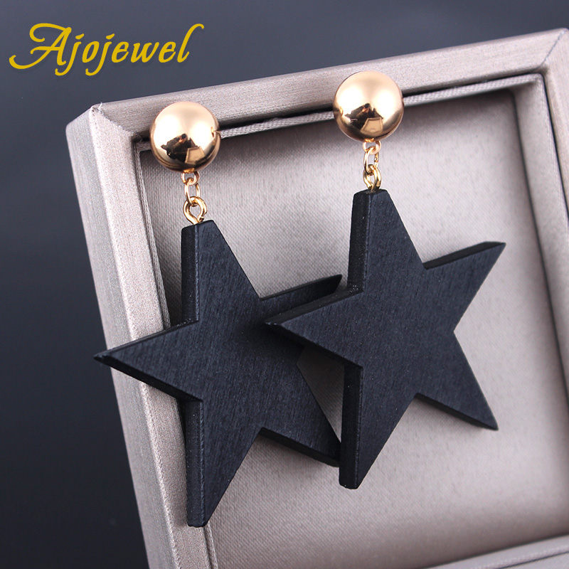 Ajojewel Simple Style Wood Star Big Earrings Black Jewelry For Women Fashion Jewelry Wholesale