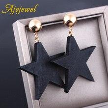 Ajojewel estilo Simple estrella de madera pendientes grandes joyas negras para mujeres joyería de moda al por mayor