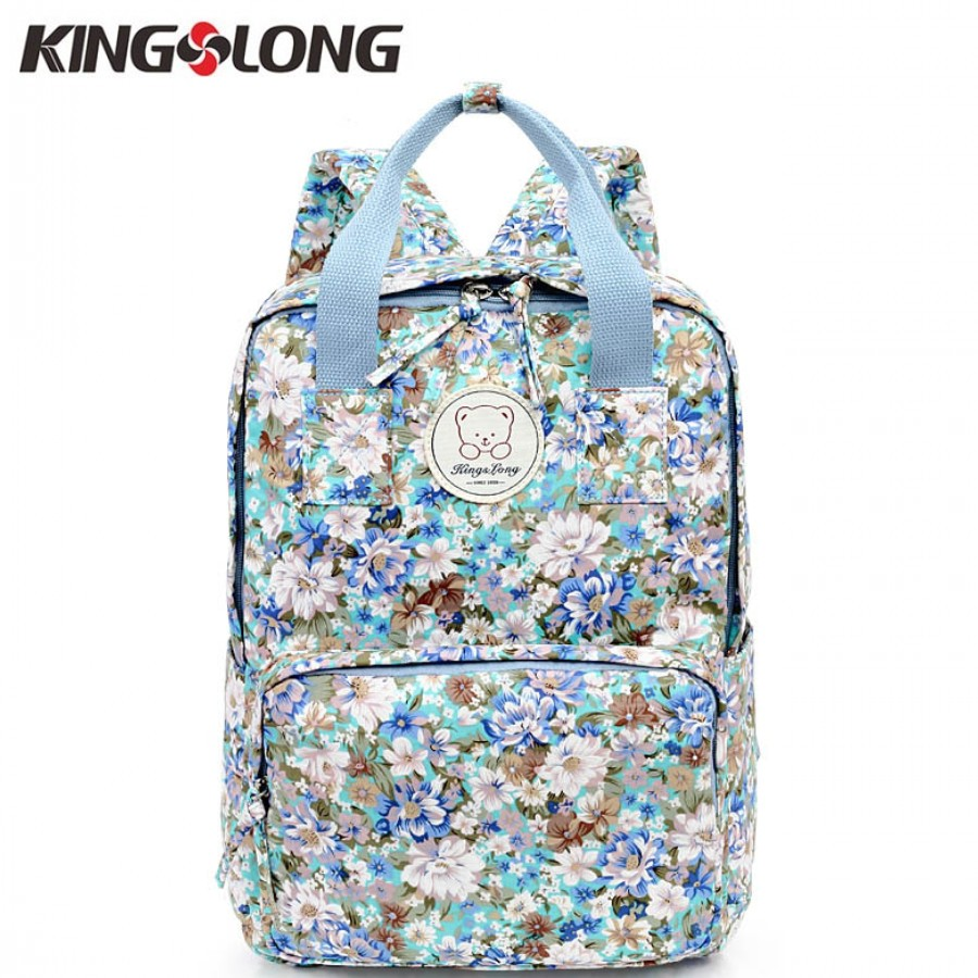 KINGSLONG Fashion Mommy Bag Female Backpack Cotton Floral Women Backpacks for Adolescent Girls School Bags Notebook Bags