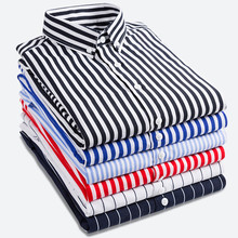 New business shirts spring 2018 Men's long sleeved shirt Fashion stripe Youth hot-selling leisure stripped bouses(China)