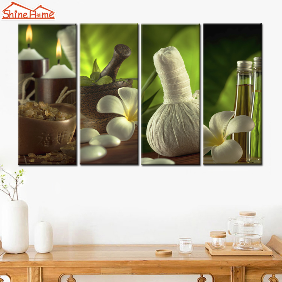 Shinehome 4pcs wall art canvas painting printing spa yoga for Spa wall decor