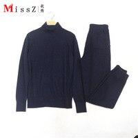 Для женщин Водолазка Вязание свитер брюки Двойка Комплект Высокое качество зимние дизайнерские взлетно посадочной полосы синий серый кост