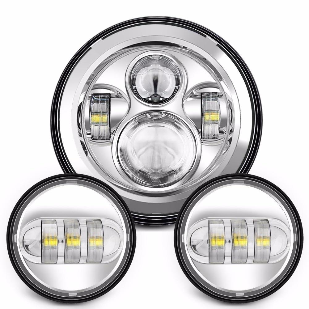 HJYUENG 45w 7DAYMAKER Headlight H4 Hi/Low Beam +30w Motorcycle Fog Light Dual 4.5 - 4 1/2Auxiliary LED Fog Lights Bulb Harley