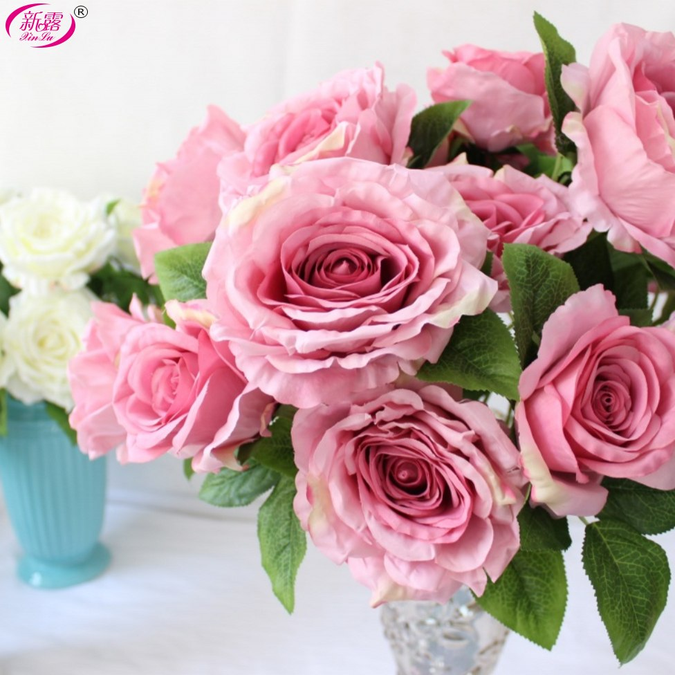 Aliexpress Buy 1pcs Big Rose Bouquet 7 Heads Silk Flower