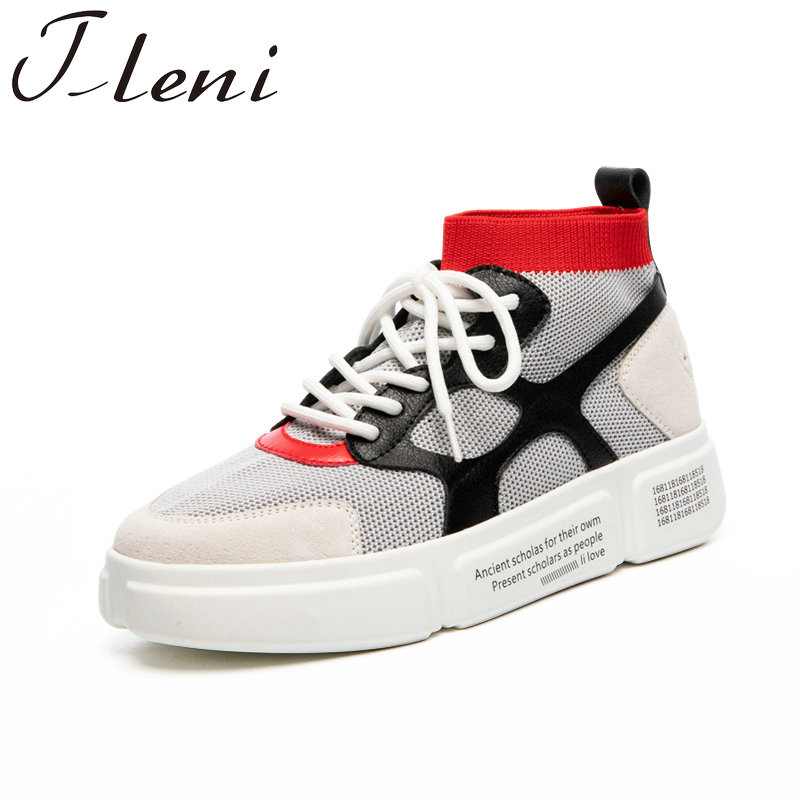 Tleni 2018 Women Sneakers Shoes Lady running Shoes Mixed Colors Breathable Knitting Mesh Shoes New ZK 53
