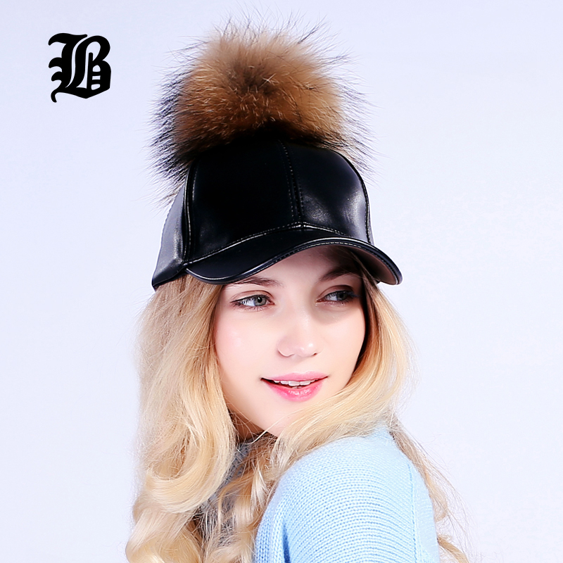 [FLB] Wholesale PU Leather Baseball Female Cap Real Mink Pom Poms Real Fur Ball Cap Hip Hop Caps Snapback Winter Hats For Women