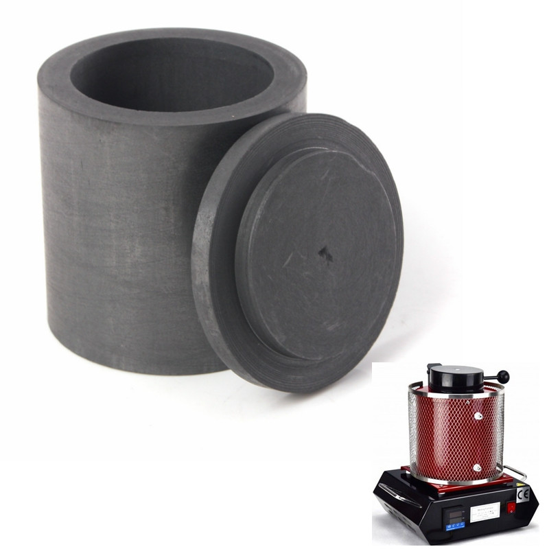 New 40 X 40mm High Purity Graphite Melting Crucible Casting With Lid Cover For Silver Weight 58g High Temperature Resistance