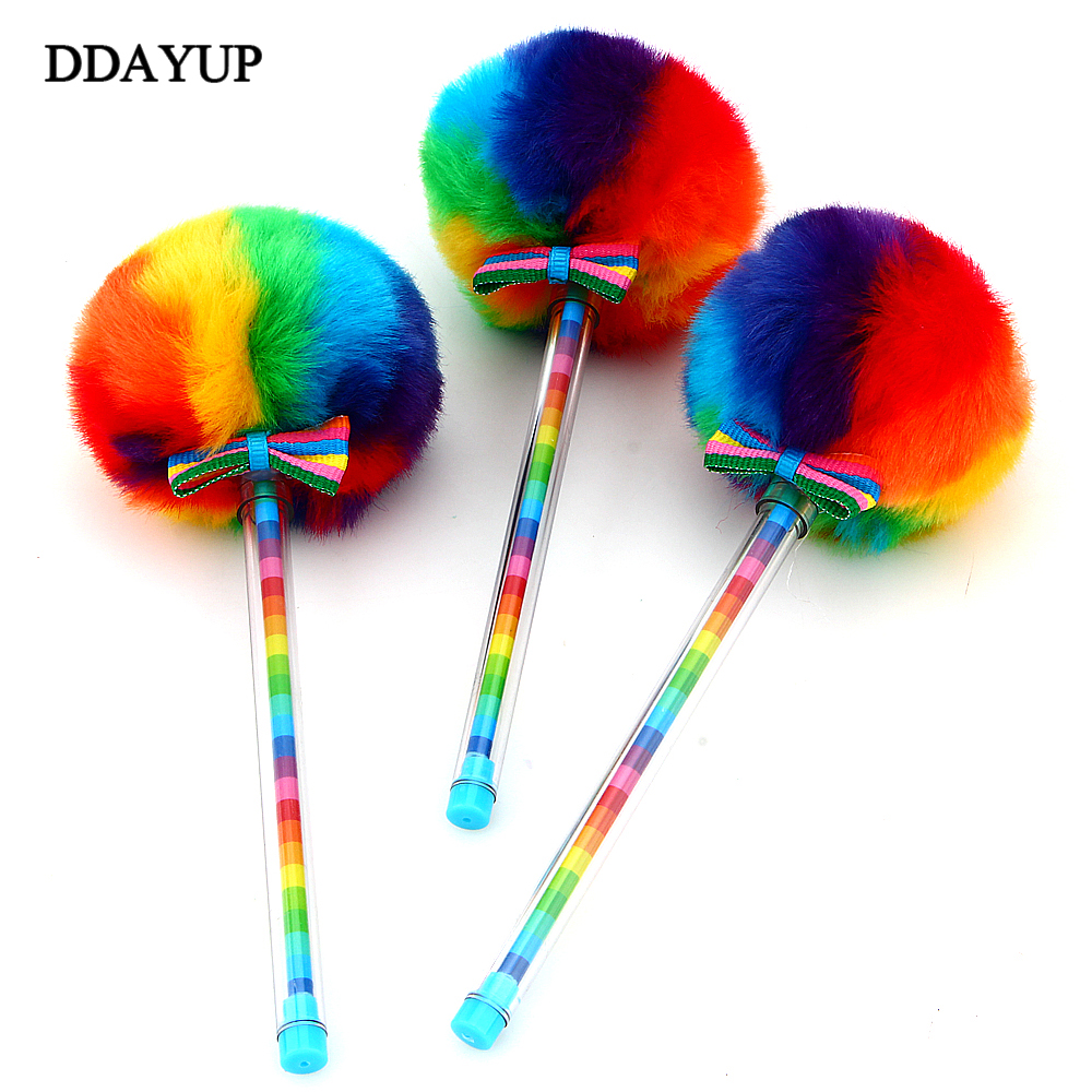 Creative Candy Color Fur Plush Ball Shape Gel Pen Cute Student Learning Stationery School Supplies