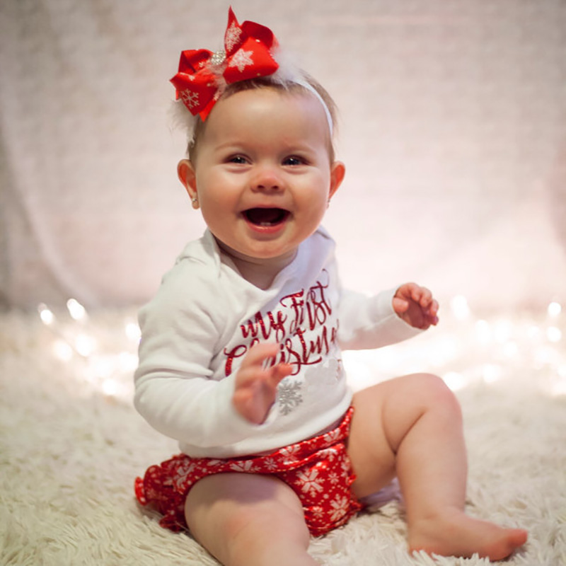 2PCS 2018 White Long Sleeve Bodysuit Funny My First Christmas Newborn Girl Clothes Red Printed Short Pants Infant Clothing