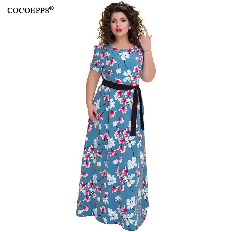 f2e173944b83 Femme COCOEPPS 2019 Plus Size Do Vintage Da Cópia Da Flor Maxi Vestidos de  Chiffon Verão Grande Tamanho do Vestido Longo Com Cinto de Roupas Femininas  6XL