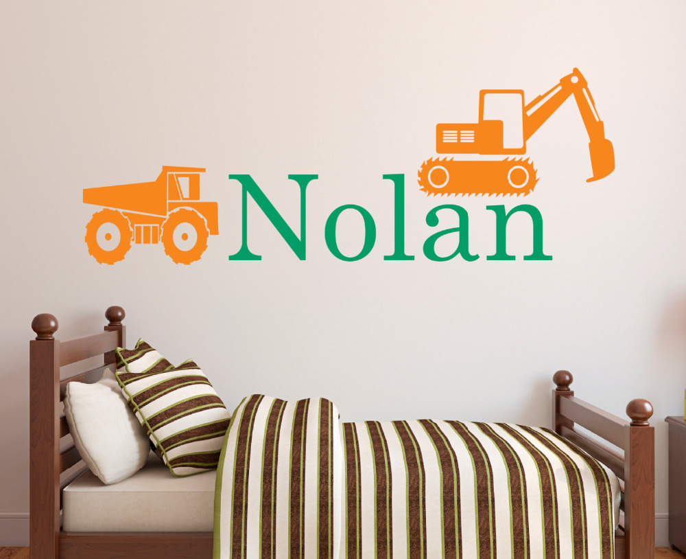 Customize Name Trunk And Excavator Vinyl Wall Stickers For