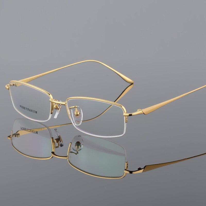 Ultraléger titane hommes demi jante lunettes cadre Vintage clair lentille optique lunettes hommes myopie Prescription montures de lunettes