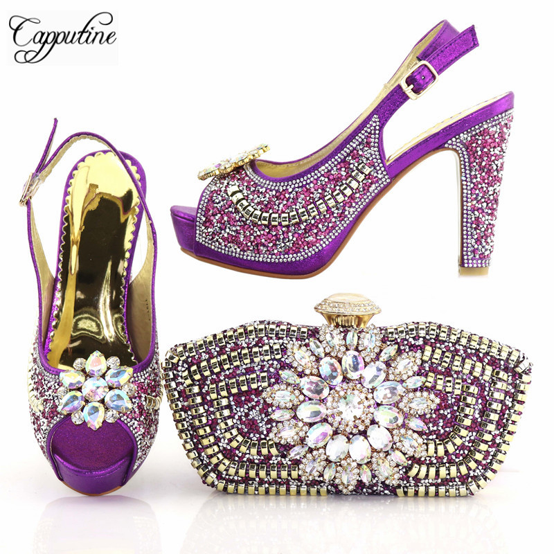 Latest Italian Flowers Rhinestone Women Shoes And Bag Set Summer Style Pumps Shoes And Matching Bags Set For Party TX-191 hot artist nigeria style shoes and bags set for party in women italian rhinestone woman pumps shoes and bag set for party bl735c