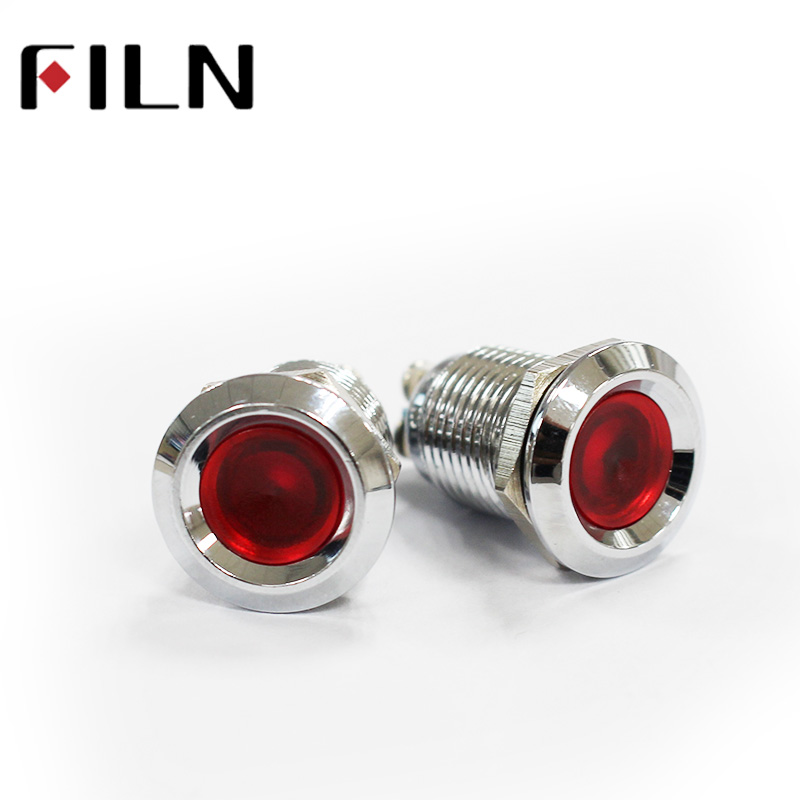 FILN 12mm Red Yellow Blue Green White 12v 24v 220v Led Screw Terminal Metal Pilot Indicator Light