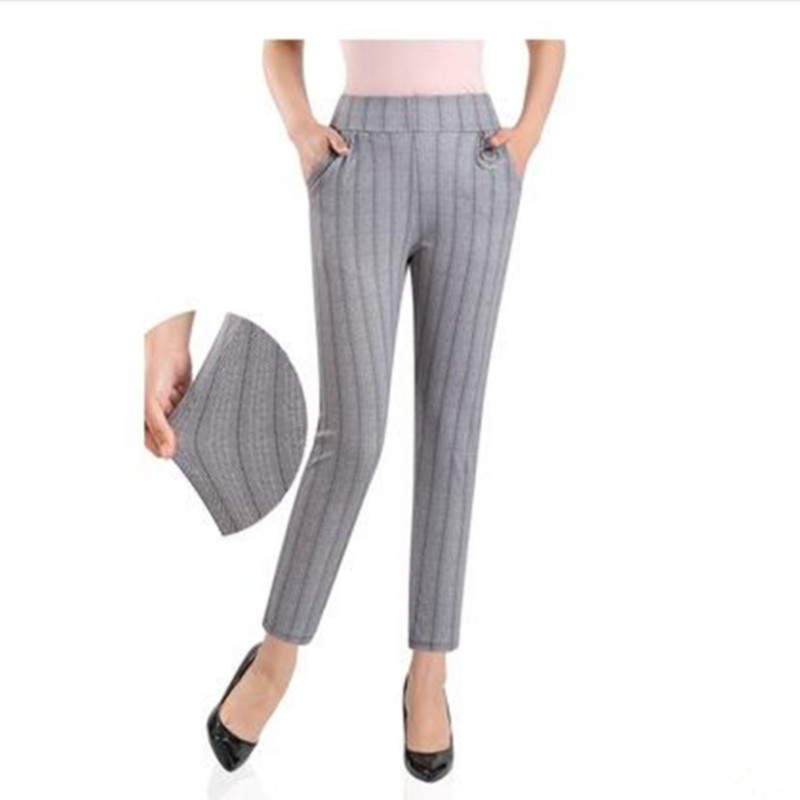 Image 3 - 2019 Women plus size Plaid Pants Ankle Length High Waist summer Fitness Trousers Plus Size 3XL 4XL 5XL streetwear-in Pants & Capris from Women's Clothing
