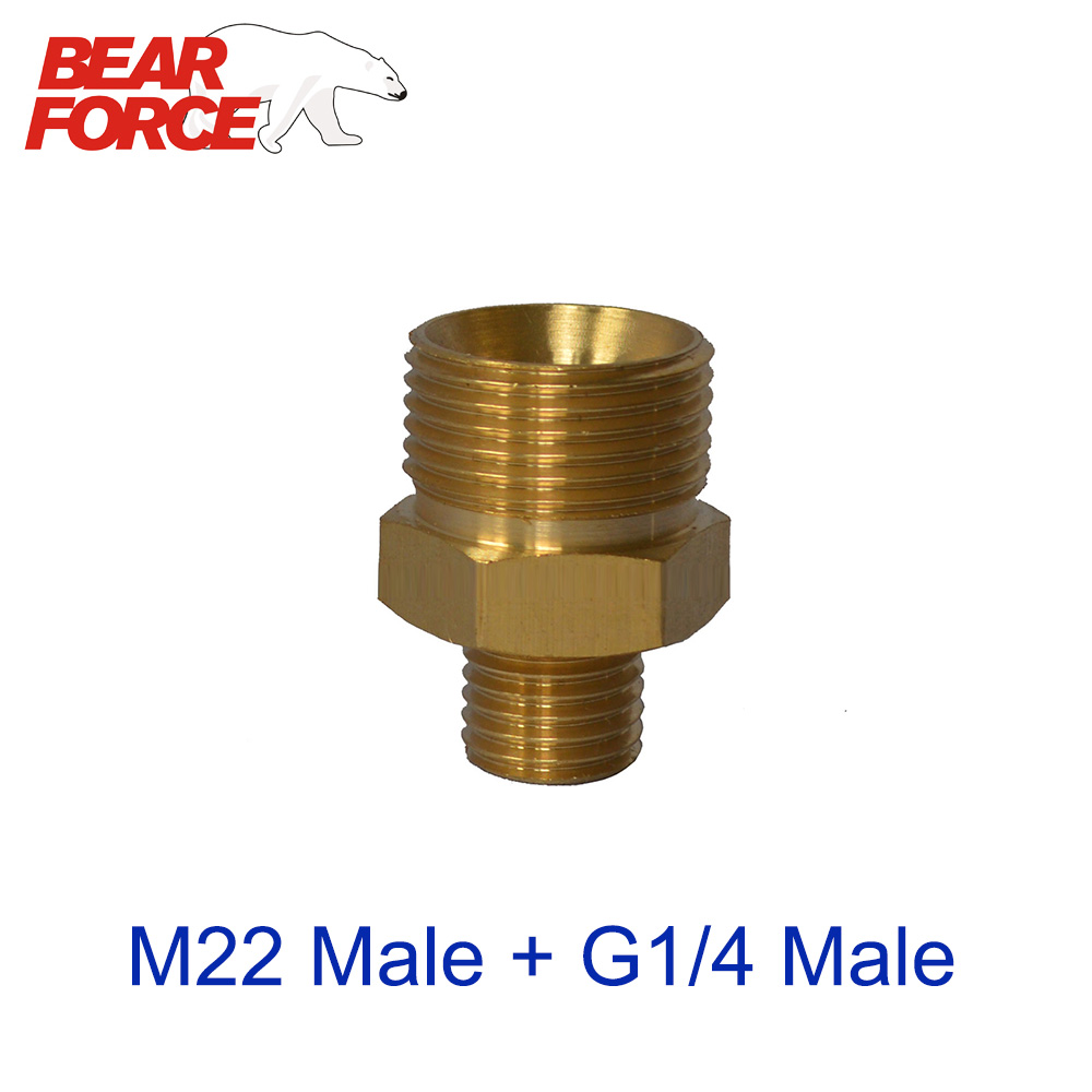 M22 Male + G1/4 Male Brass Connector Adapter For Snow Foam Lance/ Foam Nozzle For High Pressure Washers