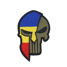 Embroidered Fabric Patch Romanian Flag Punisher Skull Embroidery Patch Badge Clothing Hat Pocket Jeans Embroidery Matte Patch embroidery patch front pocket design jacket
