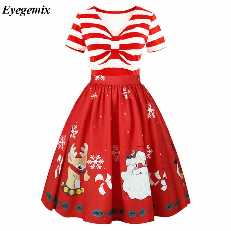 113178645bc0 Detail Feedback Questions about Elegant Striped Women Christmas Dress 50s  Vintage Dresses Swing Rockabilly Summer Short Sleeve Lace Office Party Dress  Plus ...