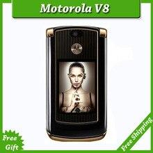 Refurbished luxury version motorola V8 original unlocked GSM mobile phone with english keyboard / russia keyboard simple set