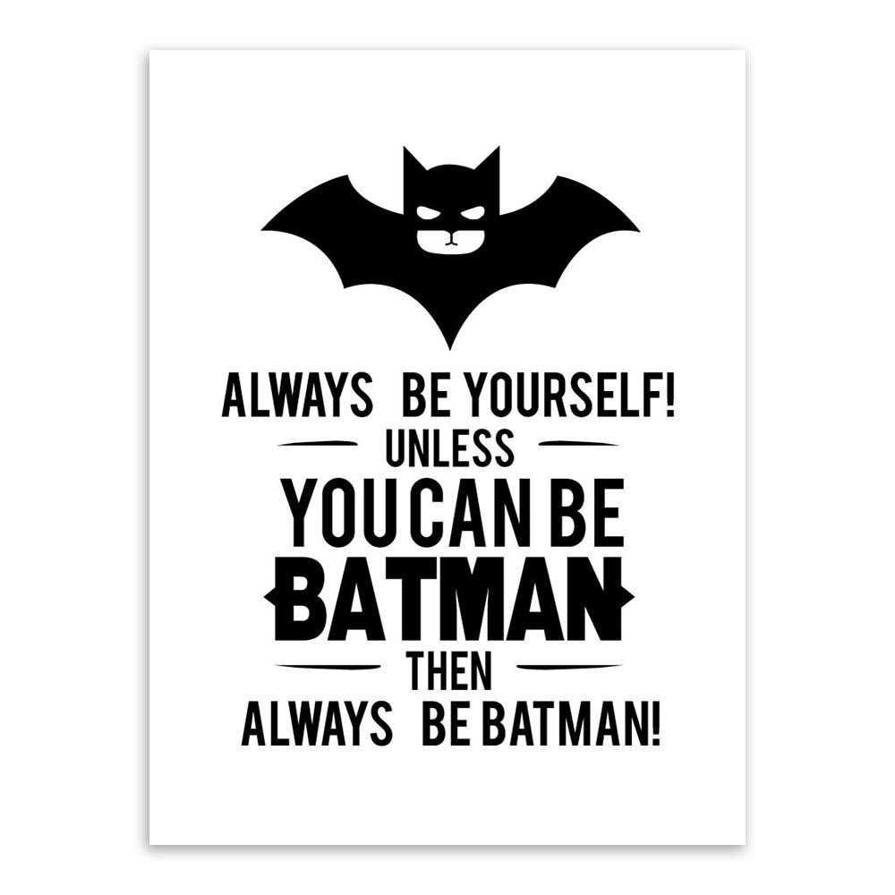 Superheld Batman Kunstdrucke Poster Schwarz Weiß Typografie Zitate ...