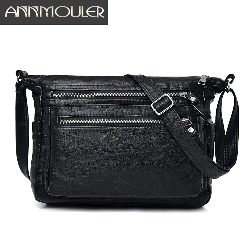 Annmouler Fashion Women Bag Pu Leather Handbags Soft Washed Leather Shoulder Bag Black Crossbody Messenger Bag for Ladies