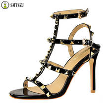 2019 Luxury Brand Black Elegant Sexy Party Night Club Wear Rivet Sandals Pump High Heel Pumps for Women Sexy Peep Toe Shoes цены онлайн