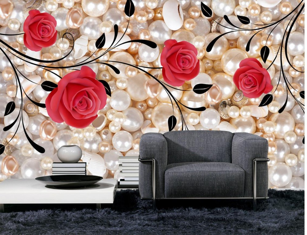 Us 132 56 Offcustom 3d Photo Wall Paper Pearl Rose Home Decoration Tv Backdrop Mural Wallpaper Wall Decoration Mural 3d Wallpaper In Wallpapers