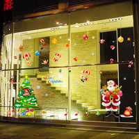 Grande 140*230 cm Feliz Natal Festival Decoração Adesivos de Parede Papai Noel Árvore de Natal Vitrine Decoração Home Da Parede decoração
