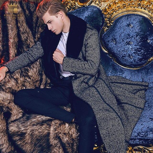 Бесплатная доставка fanzhuan новый стиль 2017 модные повседневные мужские мужская зимняя Для мужчин человек длинный тонкий теплая куртка 710109 волосы воротник вырез горловины