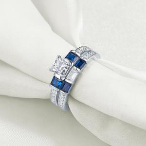 Image 3 - Newshe 2 Pcs Wedding Engagement Ring Set 1.24 Ct Princess Cut Blue Side Stone CZ 925 Sterling Silver Engagement Rings For Women