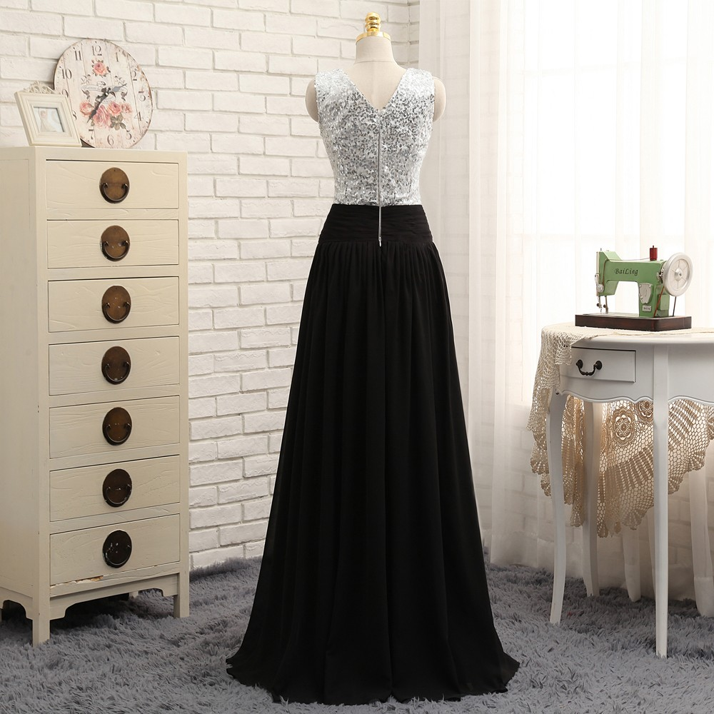 A-line Deep V-neck Black Chiffon Sequins Long Bridesmaid Dress
