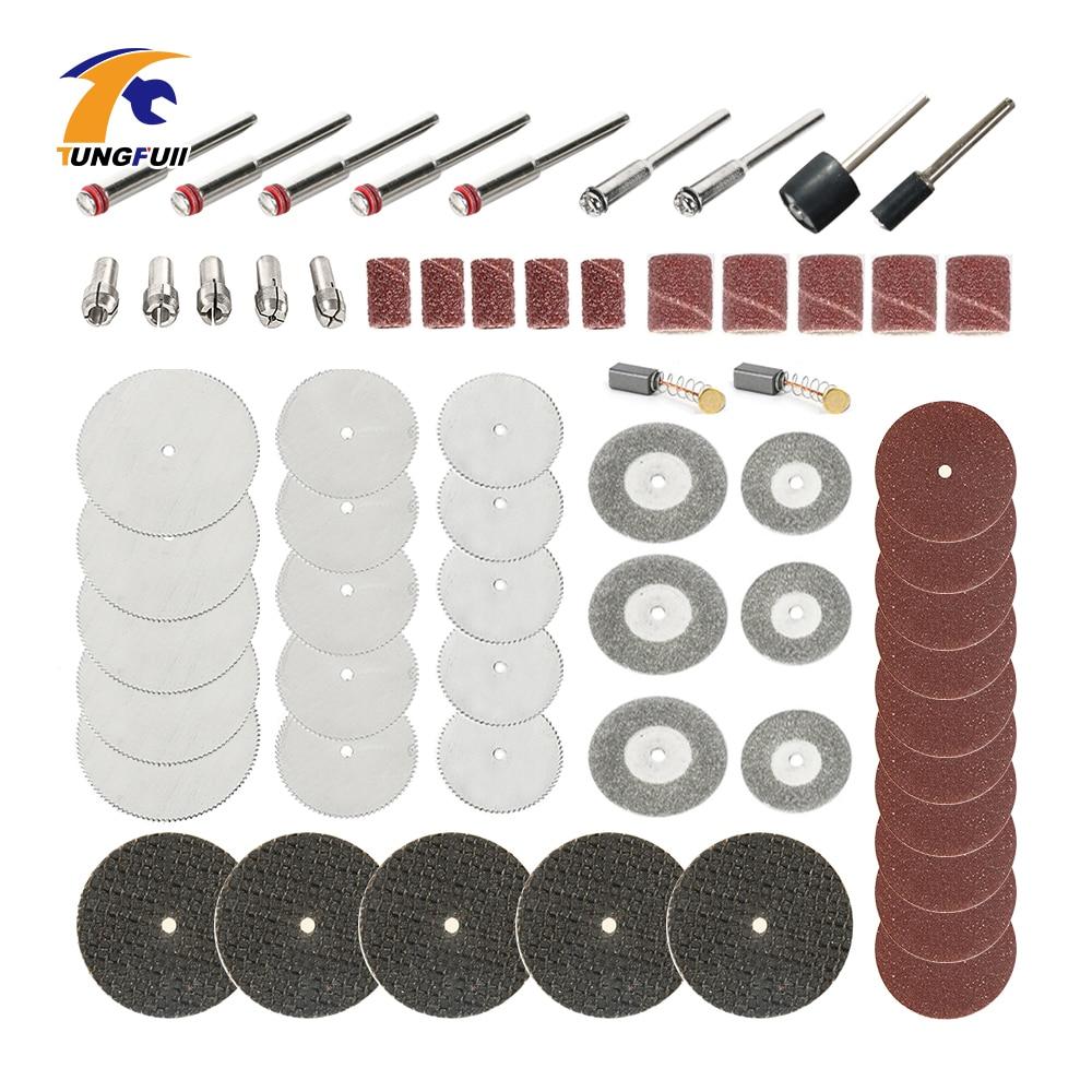 цена на Tungfull 61pcs Drill Bits Abrasive Tools Dremel Accessories Diamond Cutting Discs Dremel Rotary Cutting Tool