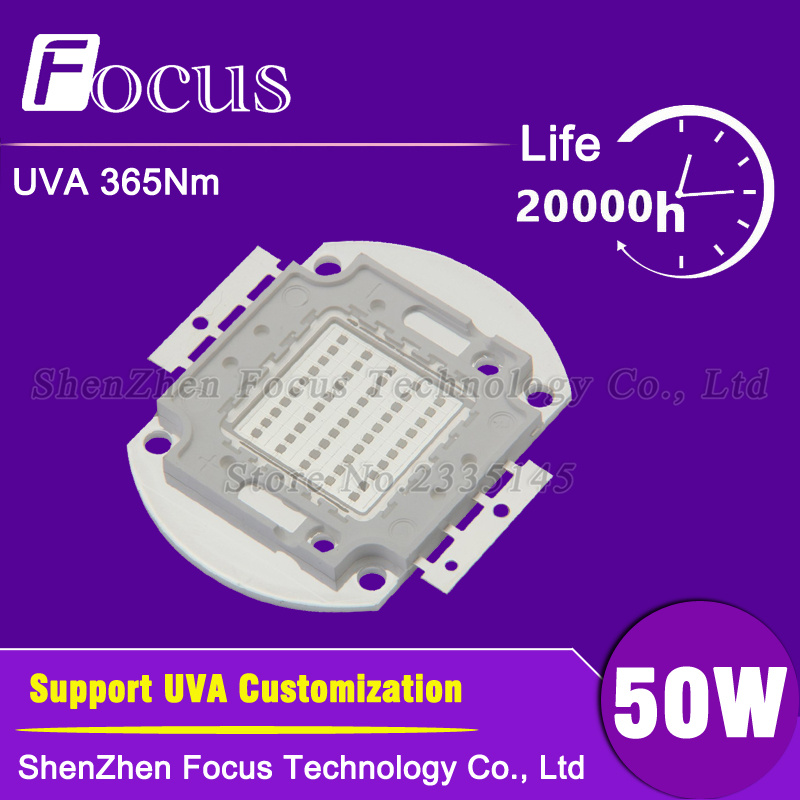High Power LED Chip 50W UV 365nm 50 Watt Light Beads UVA Purple COB For polymer , ink printing and banknote inspectio high power led chip 20w uv 360 365nm 20 watt uva purple cob light beads for polymer ink printing and banknote inspectio