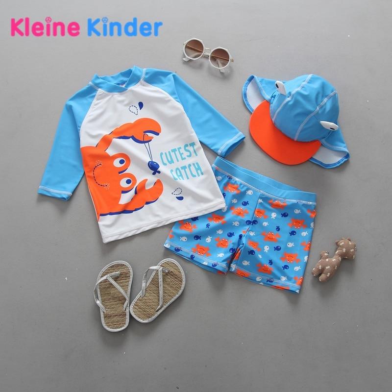 Baby Boy Swimwear Crab Print Rash Gurad Set 3 Pieces Boys Swimsuit UPF50+ Long Sleeve Beachwear Swimming Suit Shirt + Trunks+Hat