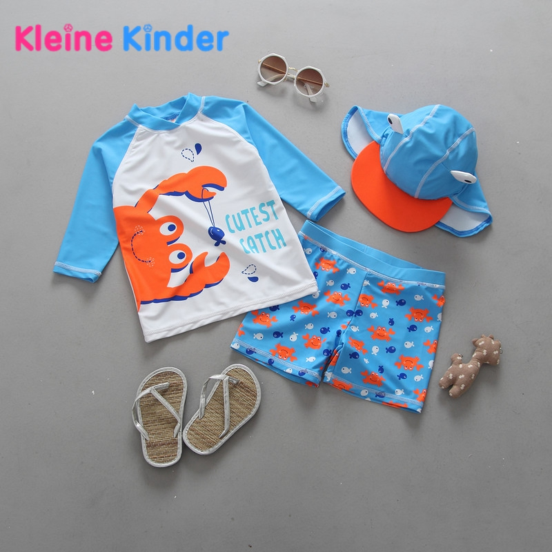 Baby Jungen Bademode Krabbe Druck Rash Gurad Set 3 Stück Jungen Badeanzug UPF50 + Langarm Beachwear Schwimmen Anzug Hemd + Trunks + Hut
