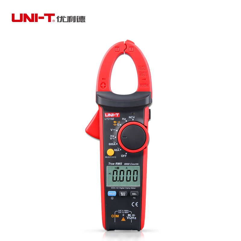 UNI-T UT216B AC 600A Ammeter True RMS Digital Clamp Multimeters Full-range Overload Protection Non-contact Voltage Detection uni t ut372 non contact tachometer with measuring range 10 to 99 999 rpm