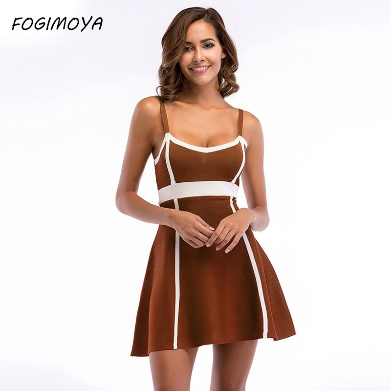 FOGIMOYA Strap Dress Women 2018 Summer Striped Kniiting Patchwork Dress Women's Sexy Sleeveless Strap Dresses Mini Dresses New