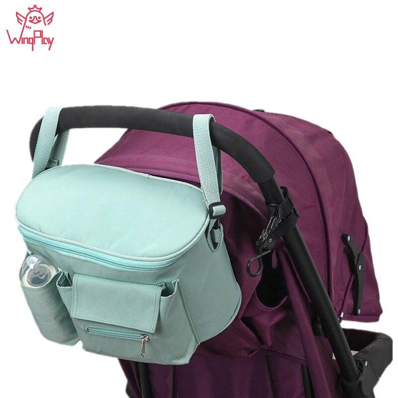 1pc Protable Diaper Bag Solid Waterproof Maternity Bag Diaper Bag Organizer Baby Stroller Bag Travel Nappy Accessory