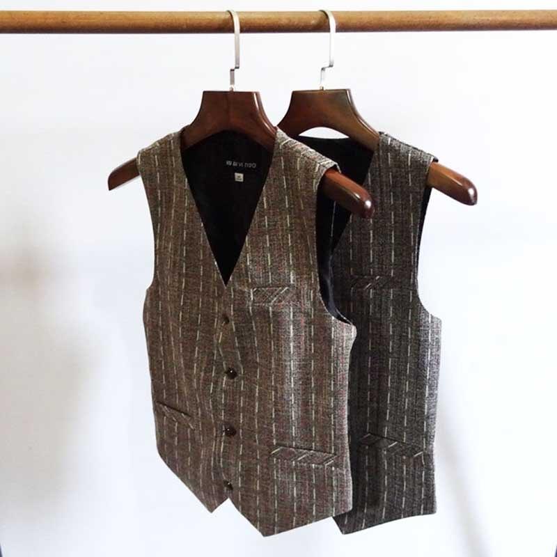 5 Button England Slim Suit Vest Men Fashion Retro Casual Vest Striped Waistcoat British Korean Vest Man Clothing Plus Size