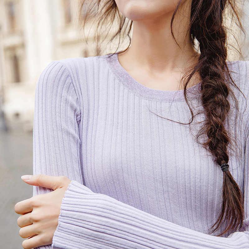 INMAN Autunno della Molla Rotonda Collare Spogliato di Fitness Donne Maglia A Maniche Lunghe Maglione Magliette E Camicette