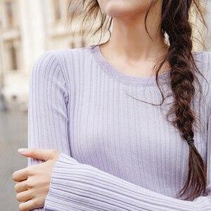 Image 5 - אינמן אביב סתיו עגול צווארון Stripped כושר נשים ארוך שרוול לסרוג סוודר חולצות