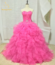 Brand New Stock Cheap Quinceanera Dresses Ball Gowns 2019 Organza Tiered Beading Dress 15 Years Vestidos De 15 Anos Curto W44