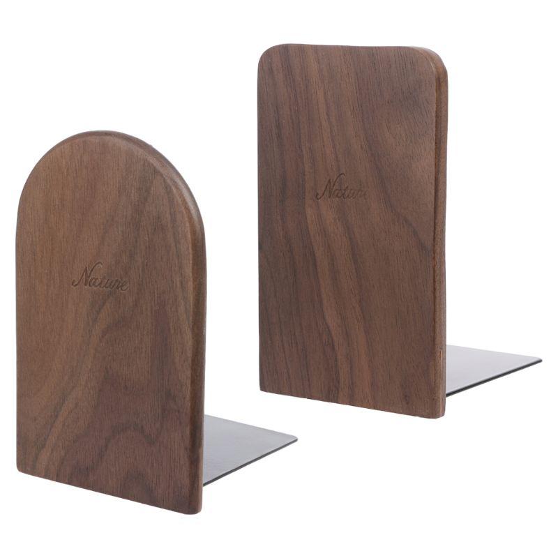 Walnut Wood Desktop Organizer Desktop Office Home Bookends Book Ends Stand Holder Shelf