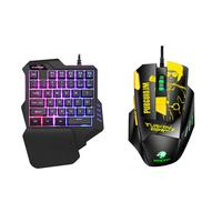 NICE Pro Single Hand Glowing RGB Backlit USB Gaming Keyboard Mouse for PC Laptop