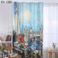 YO CHO European red bus sky wheel bell Tower window curtains for living room popular fashion high quality 3d blackout curtains