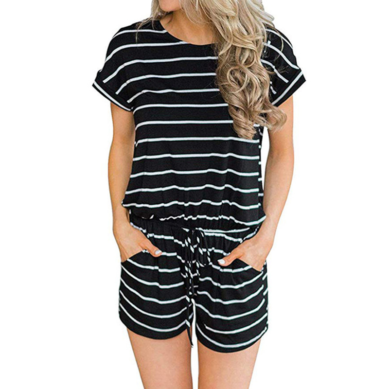 Striped Women's Romper Summer   Jumpsuit   Shorts Casual Short Sleeve Loose O-neck Playsuits Female Pockets Overalls Plus Size K005