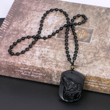JAVRICK Black Obsidian Wolf Necklace Carving Wolf Head Amulet Pendant With Chain Obsidian Blessing Lucky Pendants Jewelry NEW obsidian necklace natural stone wolf head pendant buddha guardian ball chain carving amulet with obsidian blessing lucky jewelry