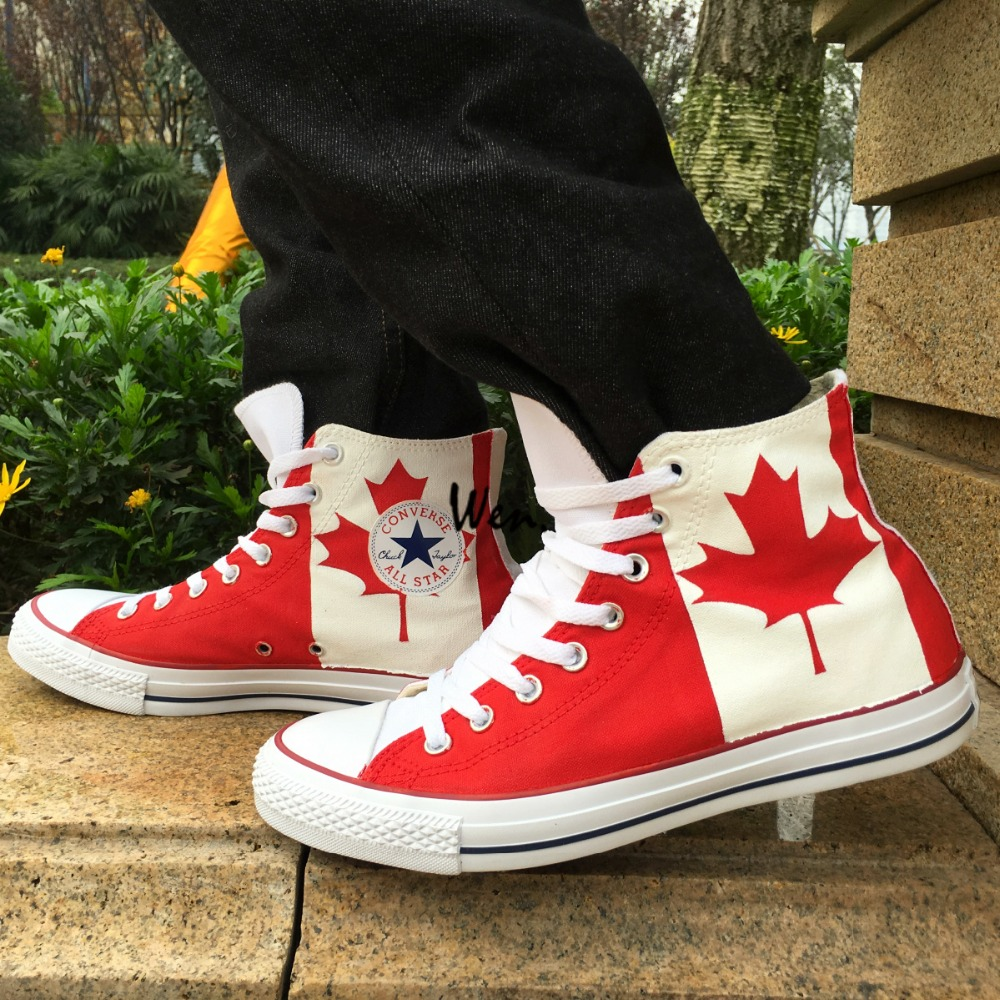 converse canada. canadian national canada flag converse all star man woman shoes red maple leaf hand painted high top canvas sneaker men women-in skateboarding from g