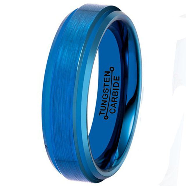 Alibaba-express Hot Sale Cool & Vintage Man Woman Blue Jewelry 6MM Unisex Tungsten Carbide Wedding Engagement Band Ring