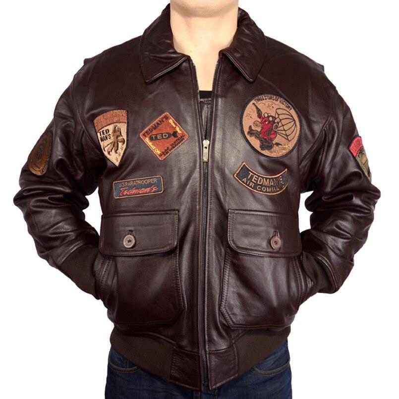 2017 새로운 남자 탑 총 가죽 파일럿 자 켓 EU 뚱뚱한 느슨한 큰 야드 정품 Cowskin 러시아 겨울 따뜻한 군사 코트